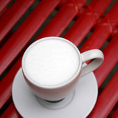 Close up hot milk cup — Stock Photo