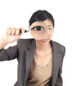 Woman and magnifying — Stock Photo