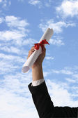 Diploma con un nastro rosso — Foto Stock