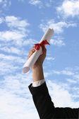 Diploma com uma fita vermelha — Foto Stock