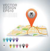 Autobús en mapa. — Vector de stock