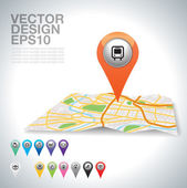 Bus on map. — Vector de stock