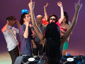 Party and entertainment with dj mixing — Stock Photo