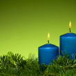 Happy holiday blue candles — Stock Photo #16939459