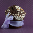 Stock Photo: Chocolate muffin wrapped up as gift