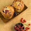 Stock Photo: Tasty currant muffins