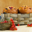 Stock Photo: Homemade muffins with currants