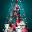 Funny colorful double christmas tree - Stock Photo