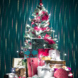 Colorful christmas greeting card - Stockfoto