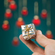 Small gift box handheld — Stock Photo