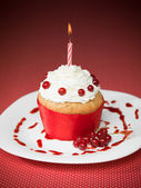 Red currant muffin celebration — Stock Photo