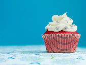Fancy velvet cupcake with silver sprinkles — Stock Photo