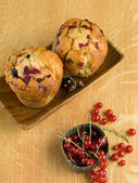 Tasty currant muffins — Stock Photo