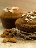Breakfast nutritious almond muffins — Stock Photo