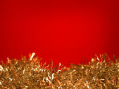 Golden tinsel - christmas decoration — Stok fotoğraf