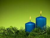 Happy holiday blue candles — Stock Photo