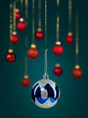 Blue christmas glittery ball — Stock Photo