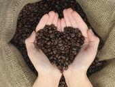 Coffe heart shape — Stock Photo