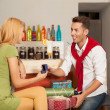 Funny marriage proposal in colorful cafe — Stock Photo