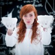 Happy student conducting lab experiment — Foto Stock