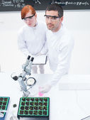 Studying in a chemistry lab — Stock Photo