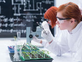 Student analyzing in a chemistry lab — Stock Photo