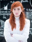 Succesful student in chemistry lab — Stock Photo