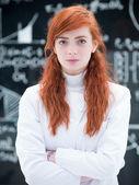 Succesvol student in chemie lab — Stockfoto
