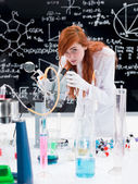 Student in chemistry lab — Stock Photo