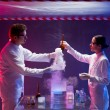 Scientists inside a biohazard space testing toxic — Stock Photo
