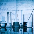 Group of flask on a lab table — Stockfoto