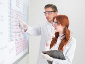 Talking about chemical elements — Stock Photo
