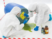 Specialists at biohazard accident — Stock Photo