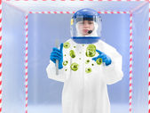 Specialist in protective suit holding biological sample — Stock Photo