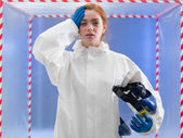 Exhausted or infected biohazard scientist — Stock Photo