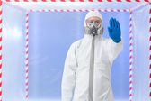 Biohazard specialist, stop gesture — Stock Photo