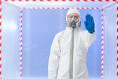 Biohazard specialist, stop gesture — Stock Photo