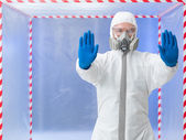Quarantine, specialist with stop gesture — Stock Photo