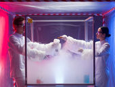 Steamy reactions in sterile chamber — Stock Photo