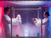 Exciting chemistry in sterile chamber — Stock Photo