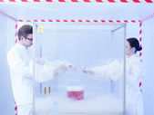 Experimenting with liquid nitrogen in sterile chamber — Stock Photo
