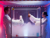 Mixing chemical substances in sterile chamber — Stock Photo