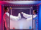 Chemical reactions in sterile chamber — Stock Photo