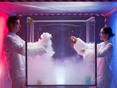 Experimenting in a sterile chamber — Stock Photo