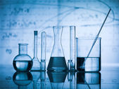 Group of flask on a lab table — Stock Photo