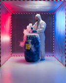 Analyzing bio hazardous waste in containment tent — Stock Photo