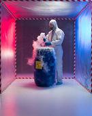 Analyzing bio hazardous waste in containment tent — Stock Photo