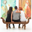 Gossip at an art exhibition — Stock Photo
