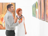 Appreciating contemporary art — Stock Photo