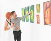 Trying to understand an artwork — Stock Photo